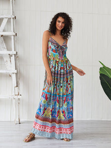 Women's Boho Dress Spaghetti Strap Bow Split Floral Printed Maxi Dress
