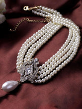 Load image into Gallery viewer, Beautiful White Pearl Statement Necklace for Women & Girls