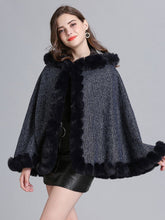 Load image into Gallery viewer, Hooded Winter Coat Faux Fur Long Sleeve Open Front Luxurious Cape Coat For Women