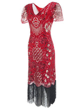 Load image into Gallery viewer, 4 Color 1920S Sequined Fringe Flapper Dress