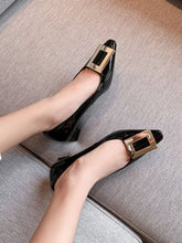 Load image into Gallery viewer, Women's Heels Low Heel Square Toe Leather Shoes