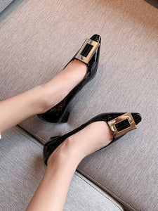 Women's Heels Low Heel Square Toe Leather Shoes