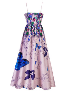 Elegant Butterfly Floral Spaghetti Maxi Dress
