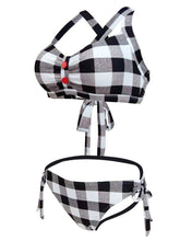 Load image into Gallery viewer, High Waisted Sexy Retro Style Backless Plaid Two Pieces Bikini Sets
