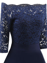 Load image into Gallery viewer, Off the Shoulder Half Sleeve Lace 50s Dress