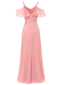 Solid Color  Spaghetti Ruffles Chiffon A line Vintage Maxi Dress