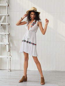 Women's Boho Dress Deep V Neck Embroidered Short Sleeve Midi Length Dress