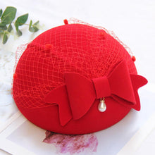 Load image into Gallery viewer, Women Wool Bow Artist Hat Cap With Grenadine