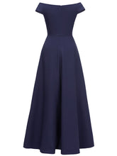 Load image into Gallery viewer, Off the Shoulder Solid Color Pleated A line Vintage Maxi Dress