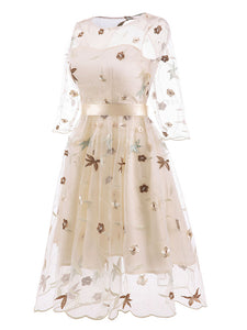 Round Collar Solid Color Embroidered Flower A line Vintage Dress