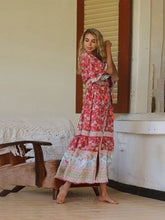Load image into Gallery viewer, Women's Bohemian Boho Dress Floral Printed V Neck Maxi Dress Swimwear Cover Ups