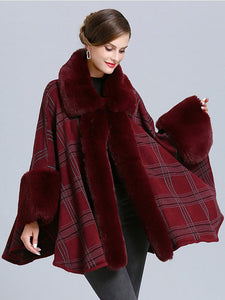 Plaid Women Poncho Sweater Faux Fur Coat Shawl Collar