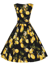 Load image into Gallery viewer, Sweet Lemon Printed Cotton 50s Flapper Dress