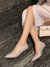 Load image into Gallery viewer, Women's Heels Low Heel Pointed Toe Sheep Skin Leather Shoes