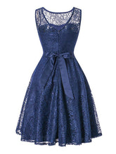 Load image into Gallery viewer, Semisheer Lace A Line Vintage Dress