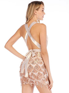 Sequin Halter Backless Back Cross Party Prom Dress