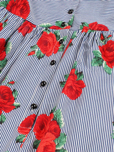 V Neck Stripe Print 1950s Vintage Dress
