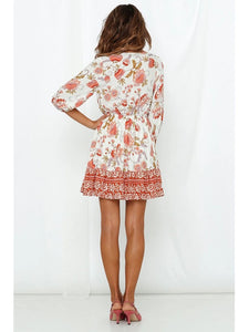 Women's Boho Dress Floral Printed V Neck Beach Dress Half Sleeve