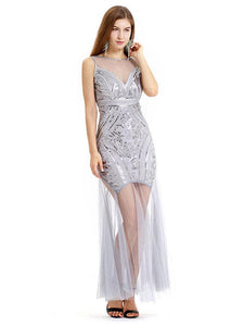 Gery 1920s V Neck Sequined Flapper Dress