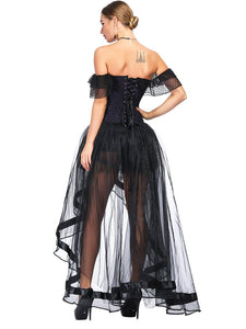 Halloween Costume Gothic Black Vintage Corset Top High Low Skirt For Women