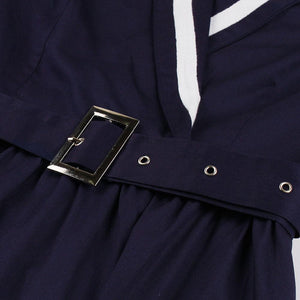 Navy 1950s V Neck Vintage Swing Dress With Belt