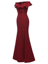 Load image into Gallery viewer, Off the Shoulder Solid Color A line Split Vintage Bodycon Maxi Dress