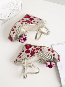 Womens Sexy Platform High Heels Floral Printed Ankle Strap Shoes Women Pumps