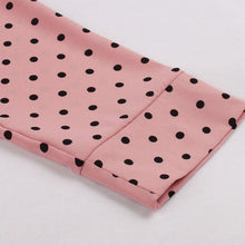 Load image into Gallery viewer, Pink Polka Dot V Neck 50s Dress