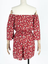 Load image into Gallery viewer, Women's Red Bohemian Boho Jumpsuit Floral Printed Off Shoulder