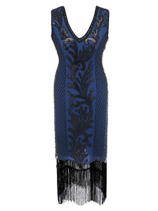 6 Color 1920S Sequined Fringe Peacock Flapper Dress