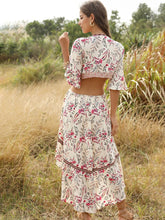 Load image into Gallery viewer, Boho Dress Deep V High Low Floral Printed Ruffles Maxi Dress For Women
