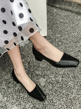 Load image into Gallery viewer, Women's Shoes Chunky Heel  Square Toe Leather Vintage Shoes
