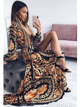 Load image into Gallery viewer, Women Cocktail Dresses Bohemian Long Sleeve Floral Fall Party Maxi Dress