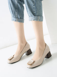 Chunky Heel  Square Toe PU Vintage Shoes