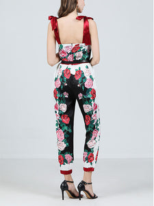 Women's Jumpsuit Rose Print Vintage Rompers