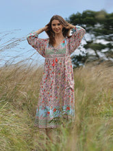 Load image into Gallery viewer, Women's Bohemian Boho Maxi Dress Sexy V Neck Tassel Beach Tunic Summer Dress