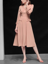 Load image into Gallery viewer, Rose V Neck Retro Swing Dress With Long Lantern Sleeve