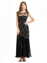 Load image into Gallery viewer, Black Gold 1920s Crew Neck Sequined Flapper Dres