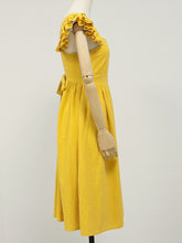 Load image into Gallery viewer, Women's Yellow Bohemian Boho Dress Backless Ruffle Sleeve
