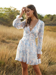 Deep V Ruffles Backless Long Sleeve Summer Boho Dress