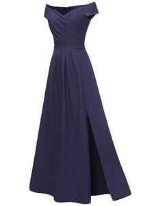 Off the Shoulder Solid Color Pleated A line Vintage Maxi Dress