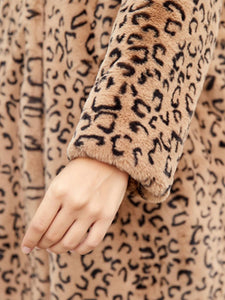 Faux Fur Coat Women Leopard Hooded Long Sleeve Oversized Winter Coat