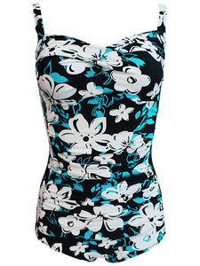 One Piece Floral Design Black Background Swimwear