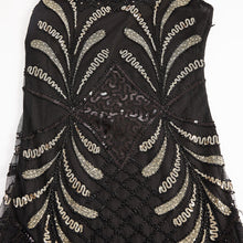 Load image into Gallery viewer, Black 1920s V Neck Sequined Flapper Dress