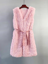 Load image into Gallery viewer, Faux Fur Vest Women Coat Sleeveless Faux Fur Jacket  With Belt