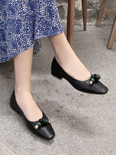 Load image into Gallery viewer, Women's Flats Square Toe Cowhide Leather Vintage Shoes