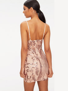 Spaghetti Strap Sequined Bodycon Vintage Party Dress