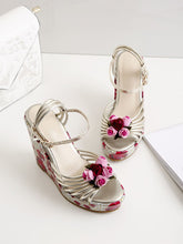 Load image into Gallery viewer, Womens Sexy Platform High Heels Floral Printed Ankle Strap Shoes Women Pumps