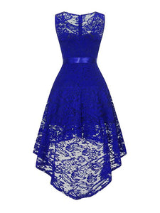 High Low Lace Solid Color Sleeve Less Vintage Dress