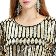 Load image into Gallery viewer, Gold 1920s Sequined Fringed  Flapper Dress